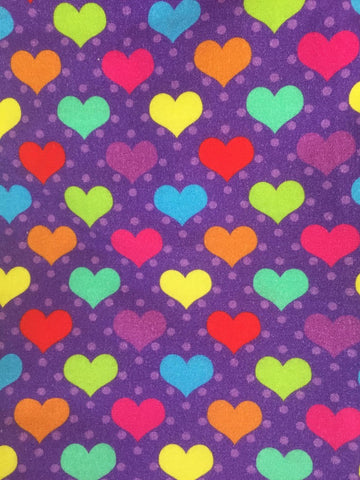 Rainbow Hearts on Purple European Cotton Lycra Knit Jersey Fabric