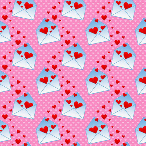 Love Letters on Pink European Cotton Lycra Knit Jersey Fabric