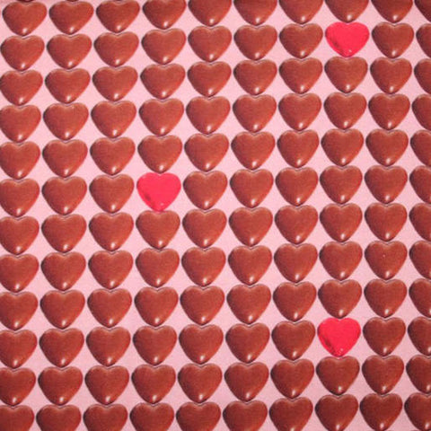 Chocolate Hearts European Cotton Lycra Knit Jersey Fabric