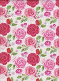 Red and Pink Roses on White Double Brushed Poly Lycra Jersey