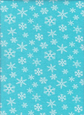 Snowflakes on BLUE Cotton Lycra Jersey Fabric
