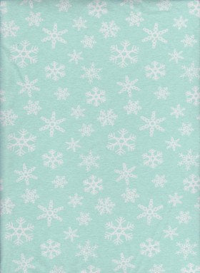 Snowflakes on MINT Cotton Lycra Jersey Fabric
