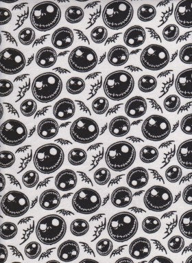 Jack Skellington Skeleton on WHITE Cotton Jersey Fabric inspired by Nightmare Before Christmas