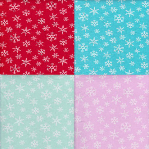 Snowflakes on RED Cotton Lycra Jersey Fabric