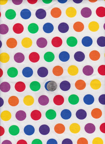 Rainbow Polka Dots on White Cotton Knit Lycra Jersey Fabric