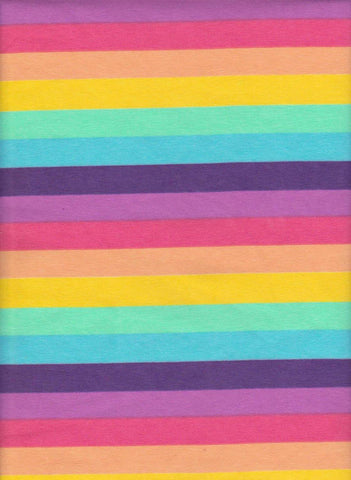 Spring Pastels Rainbow Stripes on Cotton Lycra Jersey Fabric