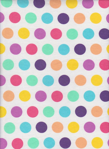 Spring Pastels Rainbow Polka Dots on White Cotton Lycra Jersey Fabric