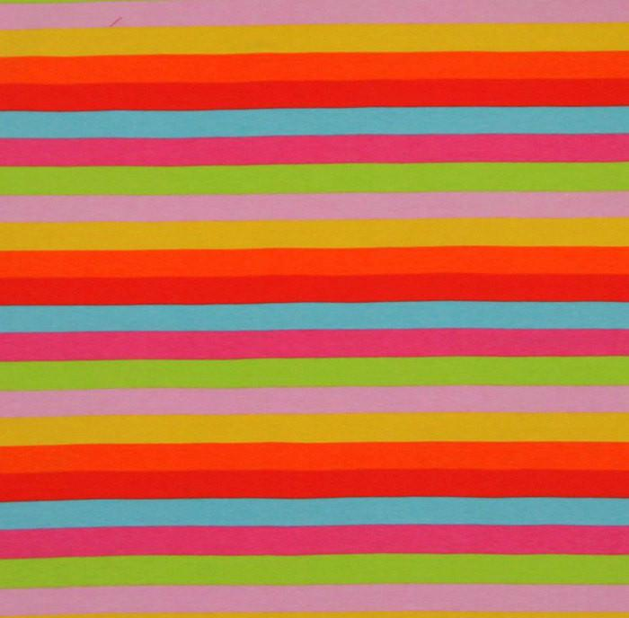 Lollipop Rainbow Stripes Cotton Lycra Knit Jersey Fabric