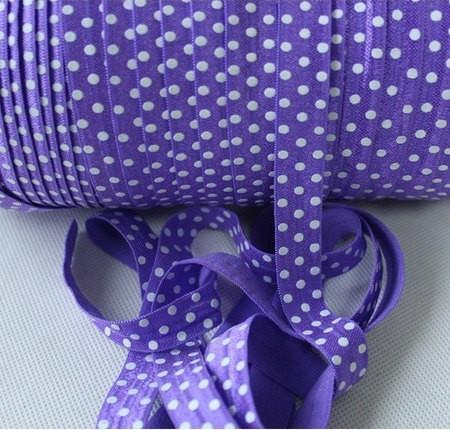 10 Yards Purple and White Polka Dots Fold Over Elastic (FOE) 5/8 Inch