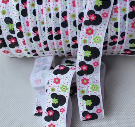 10 Yards Minnie Mouse and Flowers Fold Over Elastic (FOE) 7/8 Inch