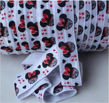 10 Yards Minnie Mouse Hearts and Stars Fold Over Elastic (FOE) 7/8 Inch