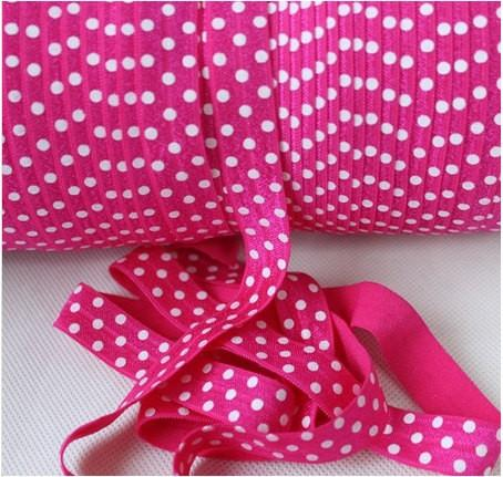 10 Yards Shocking Pink and White Polka Dots Fold Over Elastic (FOE) 5/8 Inch