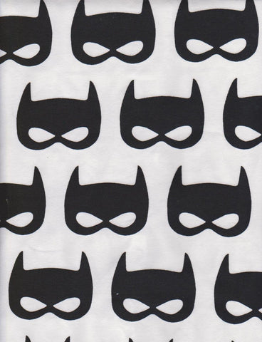 Batman Inspired Superhero Masks on White Cotton Lycra Jersey Knit Fabric