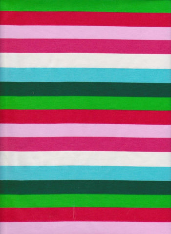 Christmas Rainbow Stripes on Cotton Lycra Jersey Knit Fabric