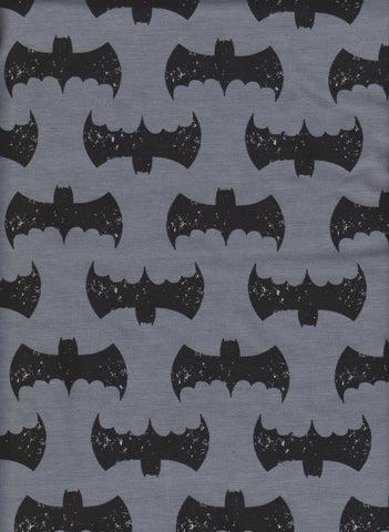 Batman Inspired Superhero Symbols on CHARCOAL Cotton Lycra Jersey Knit Fabric