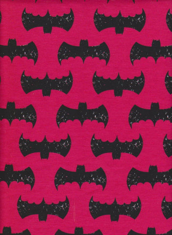 Batman Inspired Superhero Symbols on FUCHSIA Cotton Lycra Jersey Knit Fabric