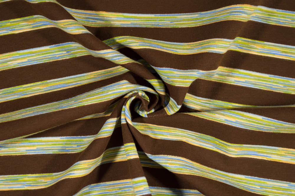 Transportation - Brown Blue Green Yellow Stripes on Cotton Spandex Knit Fabric