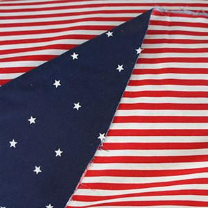 Red White and Blue Stars and Stripes Dual Print Cotton Woven Fabric