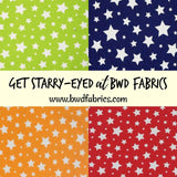 White Stars on Navy Blue Red Lime Green or Amber Yellow Cotton Lycra Knit Jersey Fabric