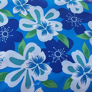 White and Royal Blue Hawaiian Flowers on Blue Polyester Microfiber Boardshort Swim Fabric