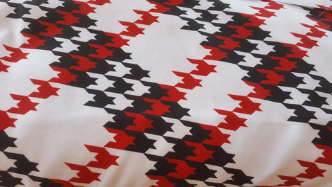 Red and Black Houndstooth on White Polyester Microfiber Boardshort Swim Fabric