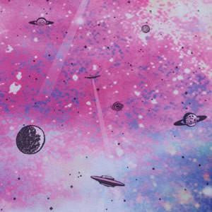 UFO Space Ships and Planets on Galaxy Polyester Lycra Swim Dance Performance Knit Fabric