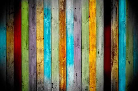 7x5 Vinyl Photography Colorful Rainbow Painted Wooden Barn Board Wallpaper Studio Backdrop Background 005