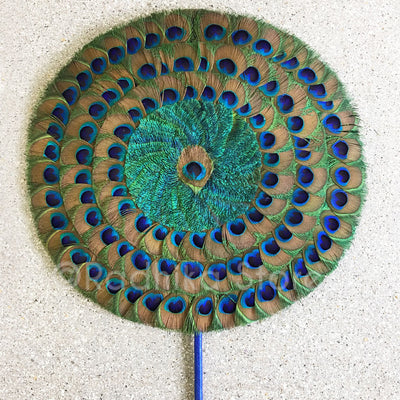 "Peacock Fan - 15"" inch Wooden Blue Ribbon Handle"