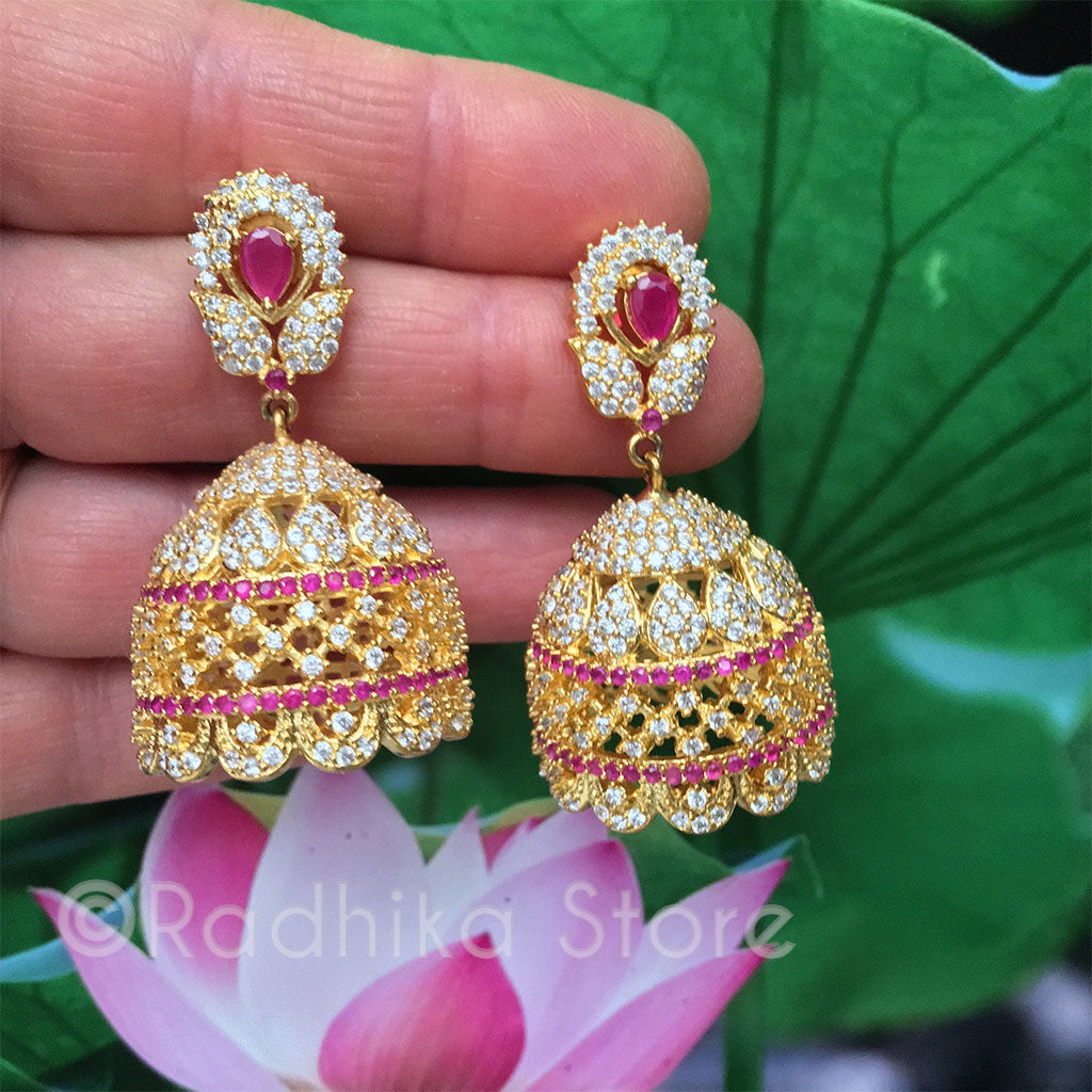 Ruby Angel Bell Earrings - Bollywood Collection