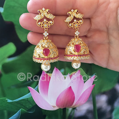 Large Love Peacock Bell Earrings - Bollywood Collection