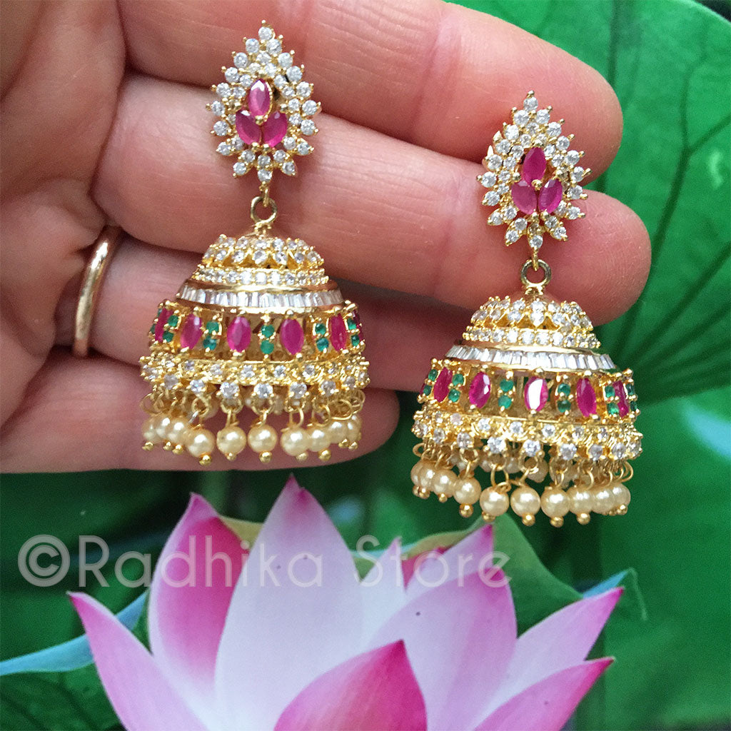Pink and Green Vedic Bells - Bollywood Collection