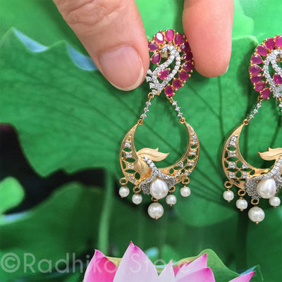 Ruby Paisley Flower Earrings - Bollywood Collection