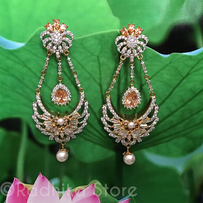 Yellow Sapphire Teardrop Pearl drop  Earrings - Bollywood Collection