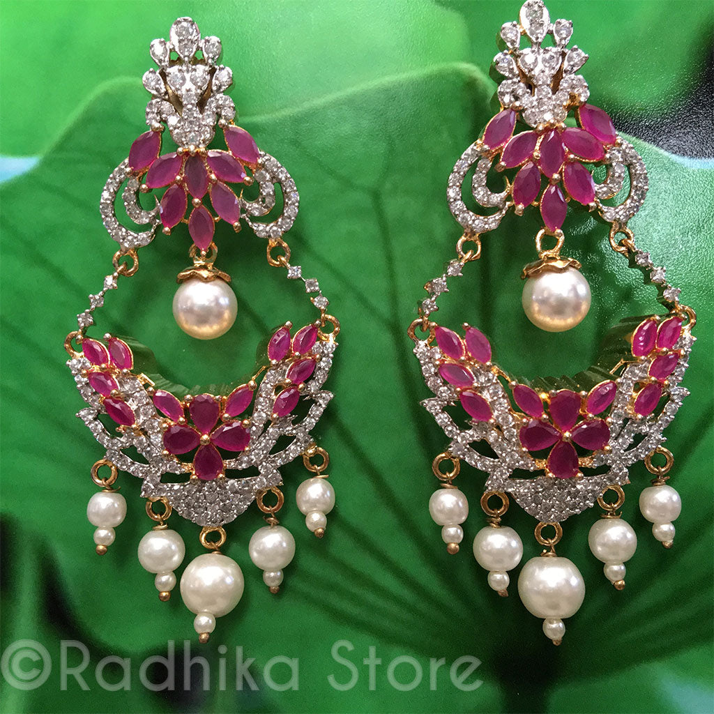 Ruby Flower Basket Pearl Drop Earrings - Bollywood Collection