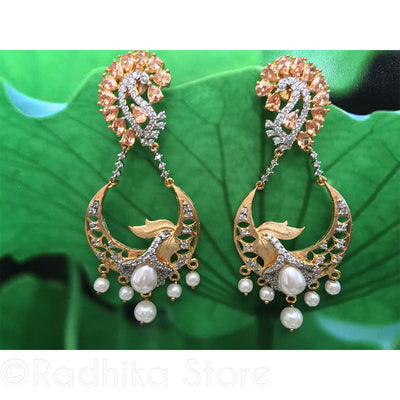 Morganite Paisley Flower Earrings - Bollywood Collection
