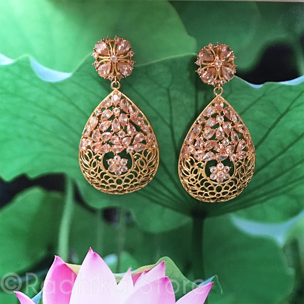 Golden Flower Tear Drop Earrings - Bollywood Collection