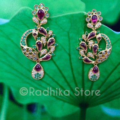 Rhinestone Pink and Green Peacock Earrings