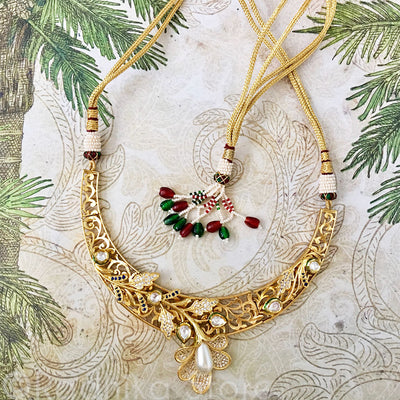 Calla Lily Necklace With Faux Crystals And Pearls