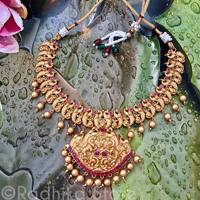 Golden Ruby Peacock Necklace and Earring Set