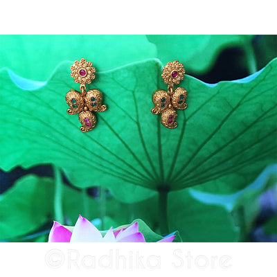 Antique Gold Look Swirl Paisley Earrings - With Faux Rubies and Emeralds