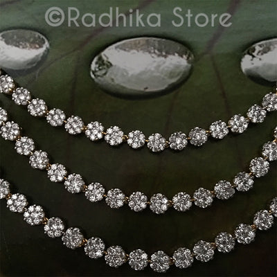 Flower Rhinestone Triple Strand Necklace