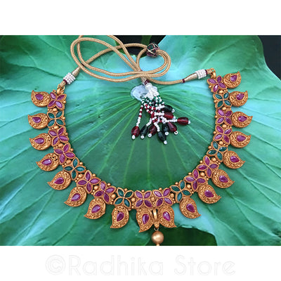 Antique Look - Paisley Flower Pink & Green Crystal Necklace
