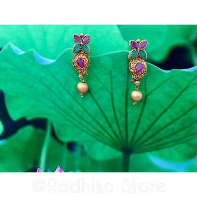 Antique Look - Paisley Flower Pink & Green Crystal Earrings
