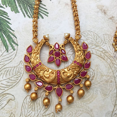 Antique look Necklace - Crescent with Swinging Ruby Chakra