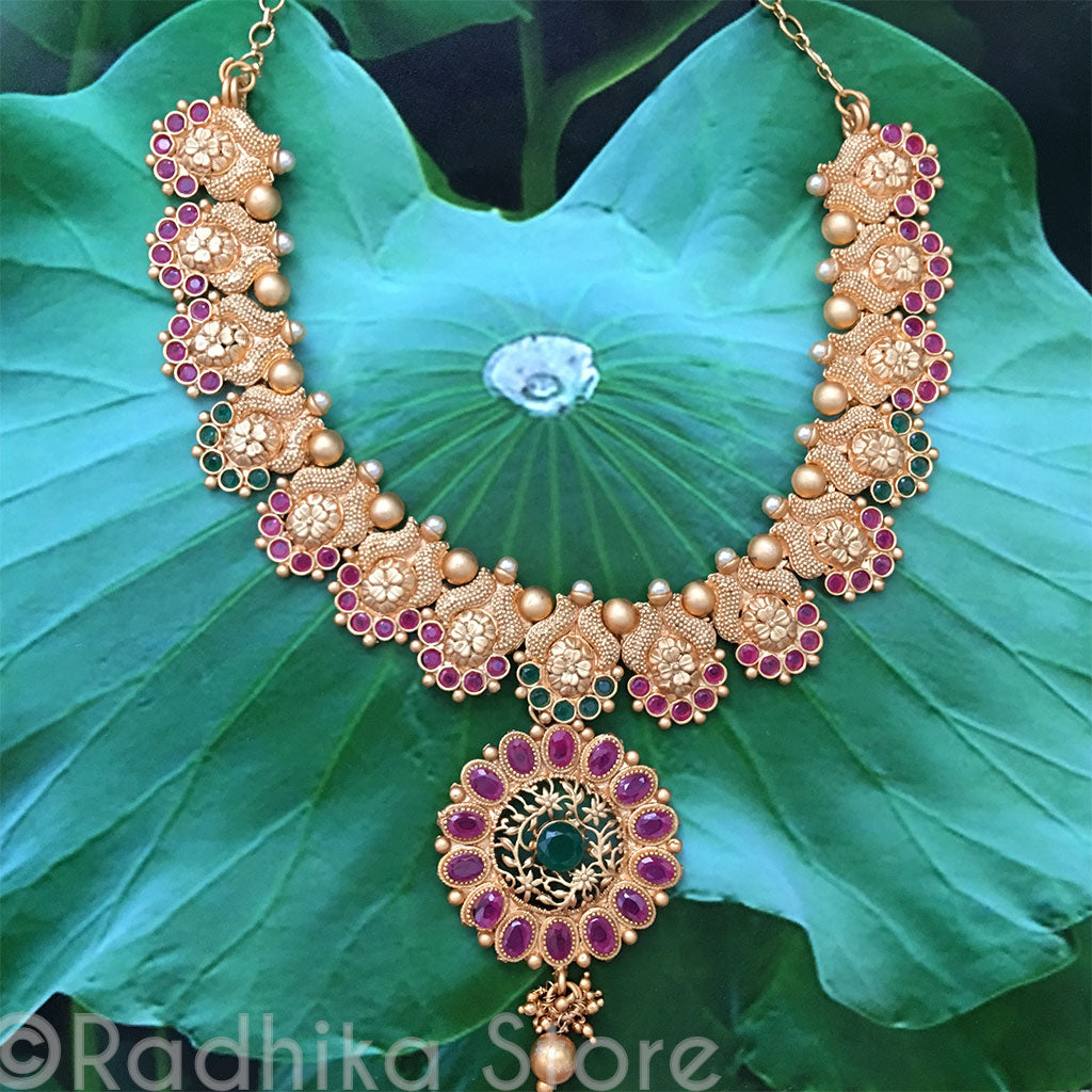 Bright Gold Flower Chakra Necklace- With Faux Pearls Rubies and Emeralds