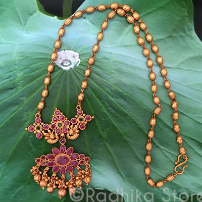 Sun Chakra Peacocks - Earring Necklace Set