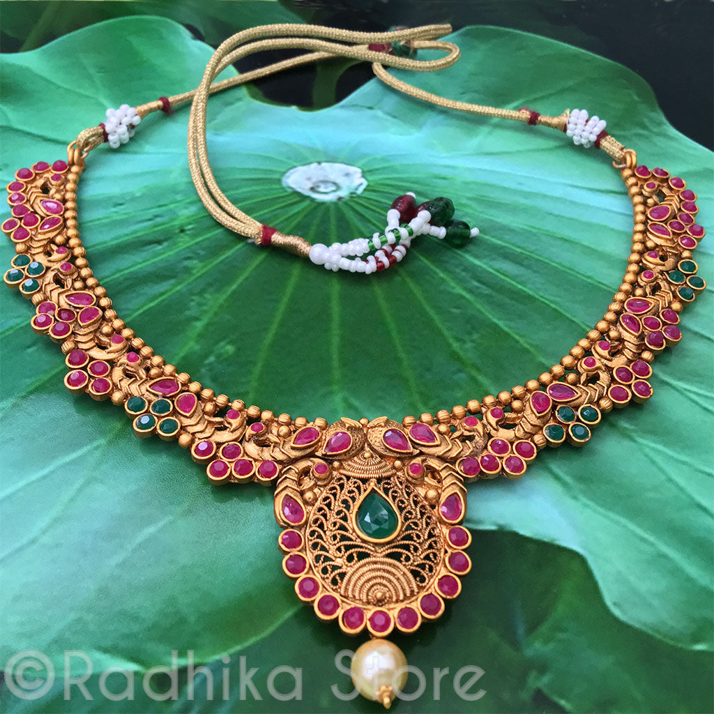 Ruby Emerald Peacocks With Paisley Pearl-Drop Necklace