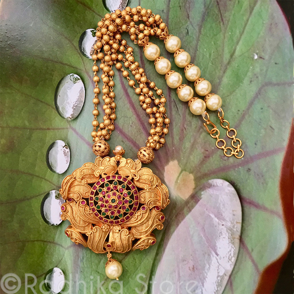 Large Chakra Pendant Gold and Pearl Necklace