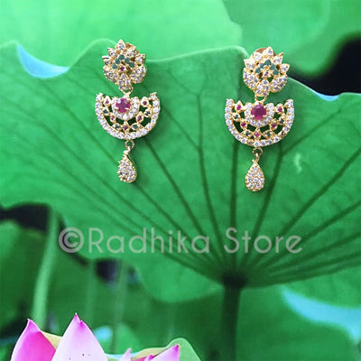Dancing Peacock Rhinestone Earrings