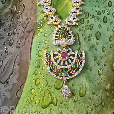 Dancing Peacock Rhinestone Necklace